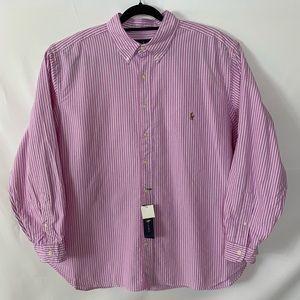 Ralph Lauren Classic Red Striped Button Down Shirt